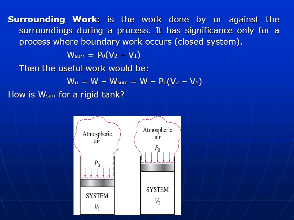 Surrounding Work: is the work done by or against the surroundings during a process. It has significance only for a process where boundary work occurs (closed system).