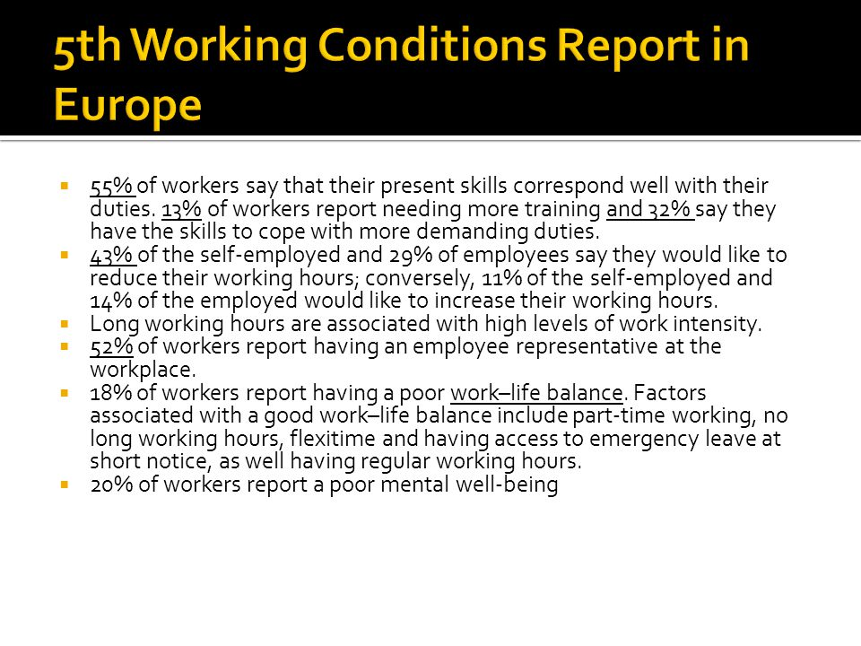 5th Working Conditions Report in Europe