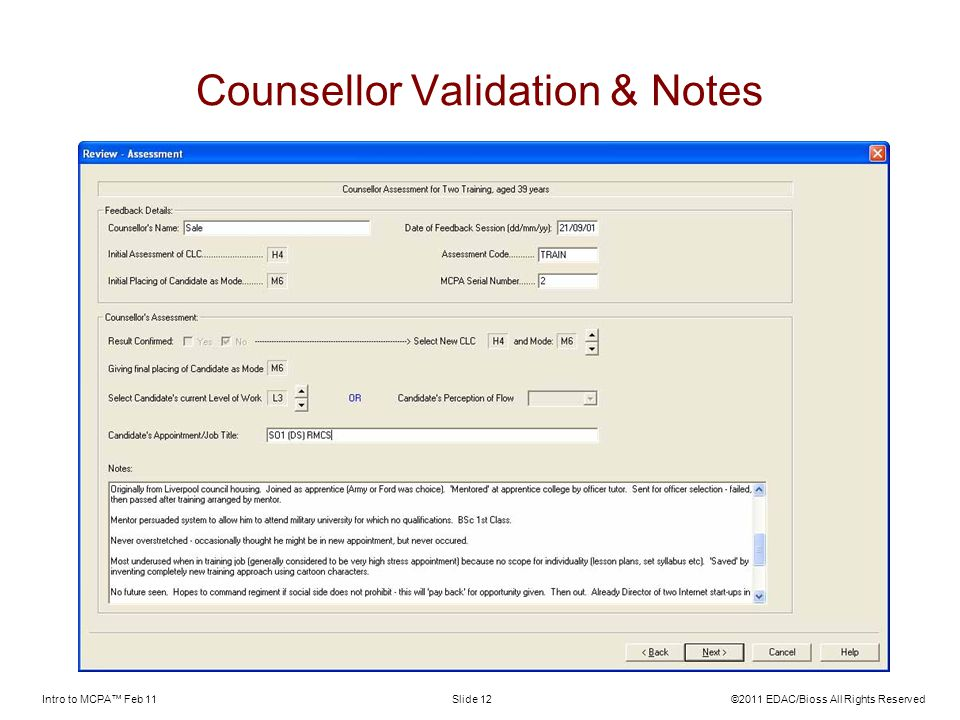 Counsellor Validation & Notes