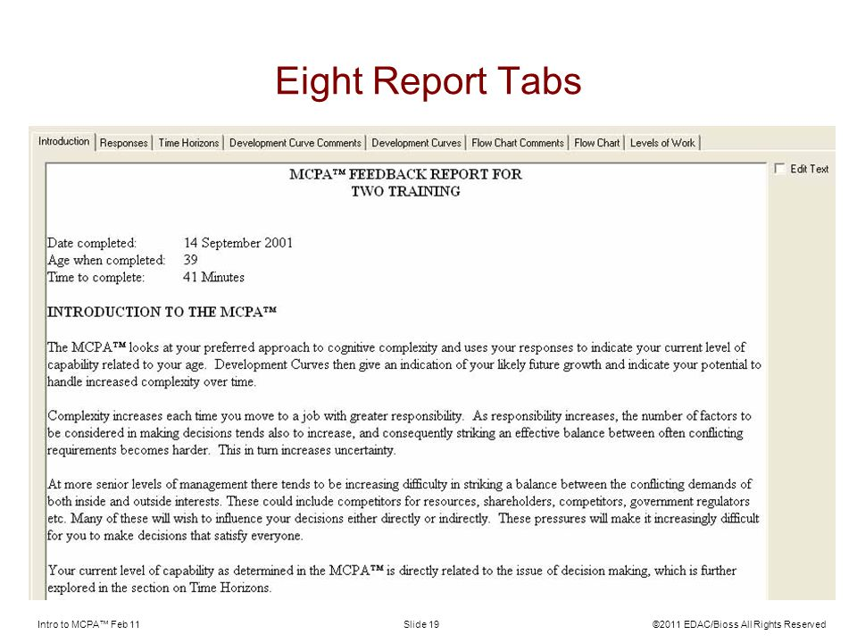 Eight Report Tabs Intro to MCPA™ Feb 11