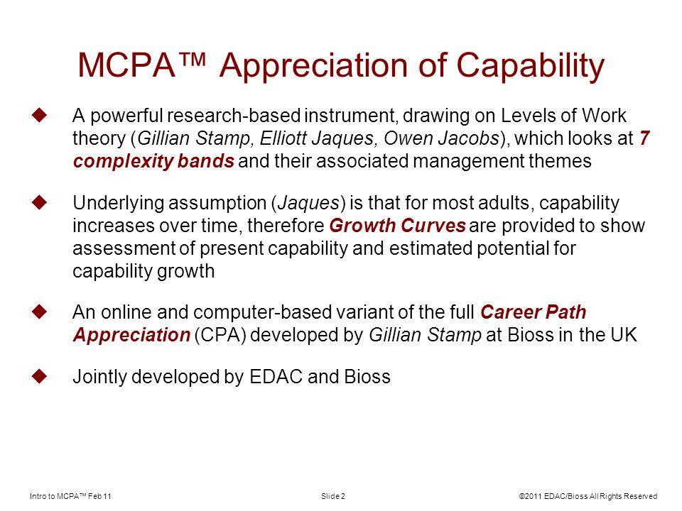 MCPA™ Appreciation of Capability