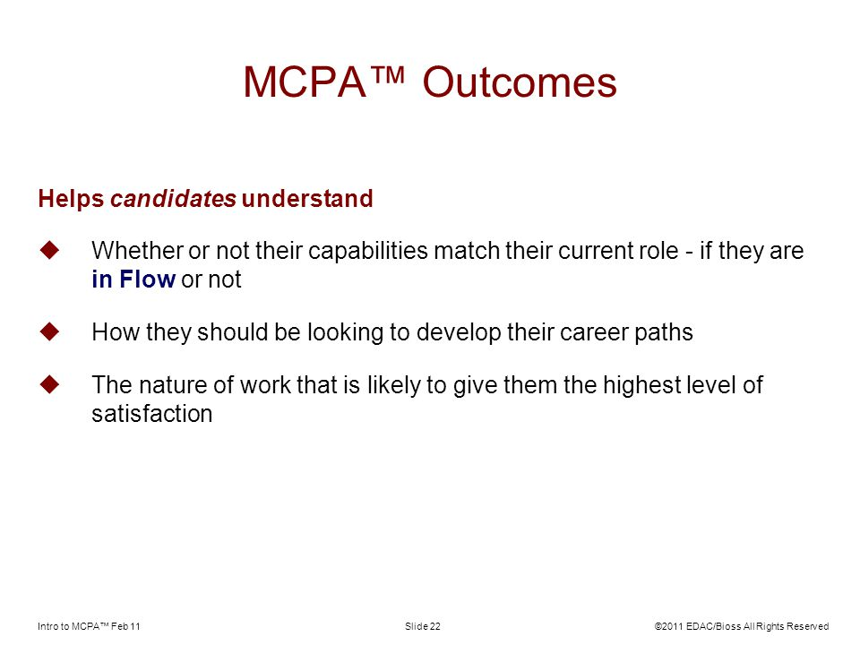 MCPA™ Outcomes Helps candidates understand