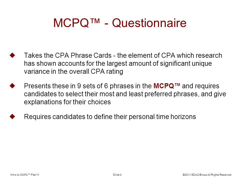 MCPQ™ - Questionnaire