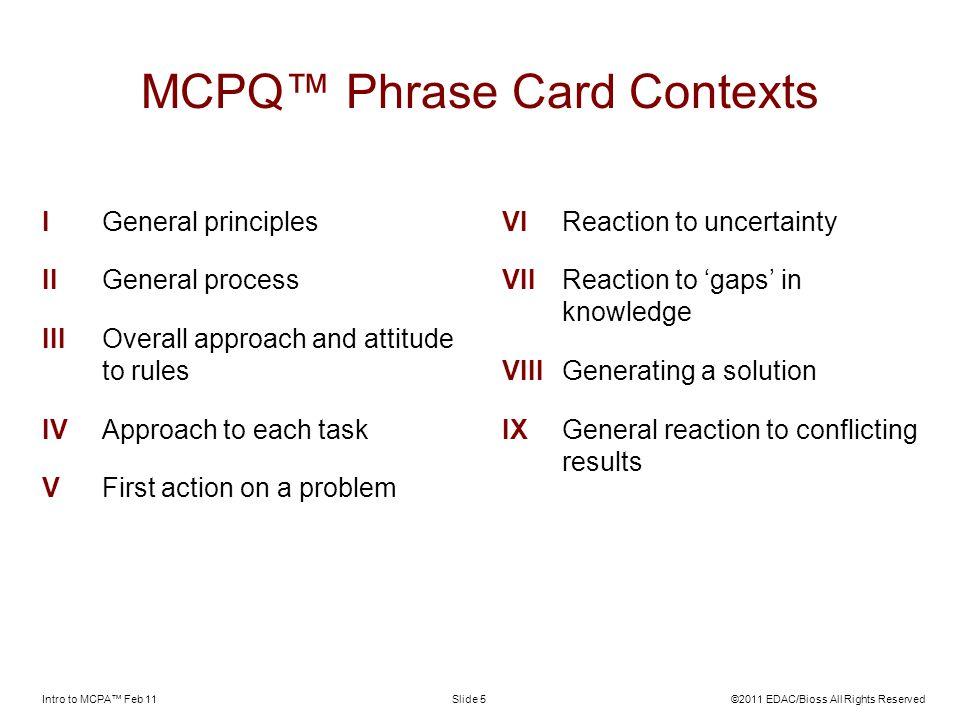 MCPQ™ Phrase Card Contexts