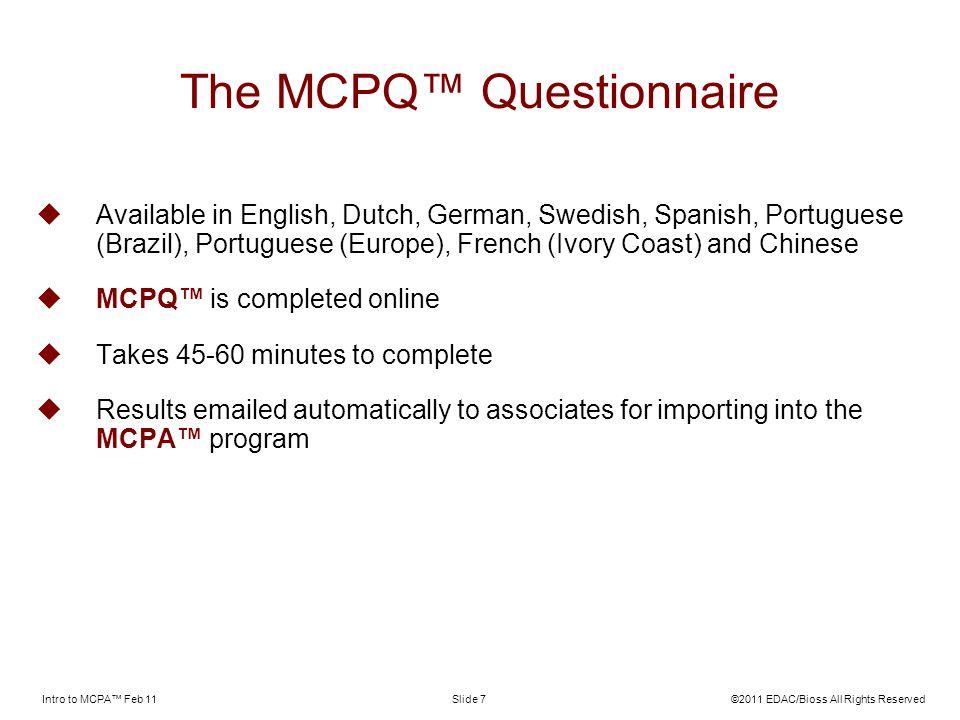 The MCPQ™ Questionnaire