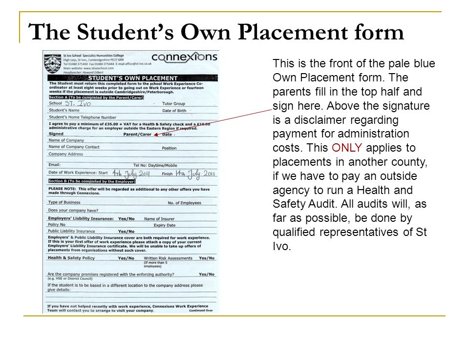 The Student's Own Placement form
