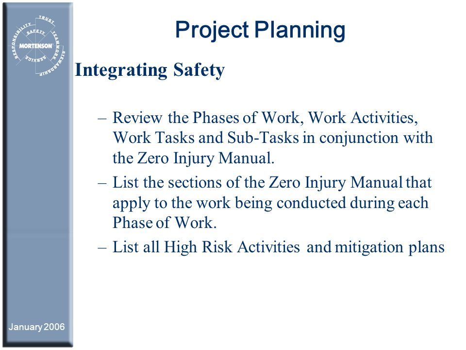 Project Planning Integrating Safety