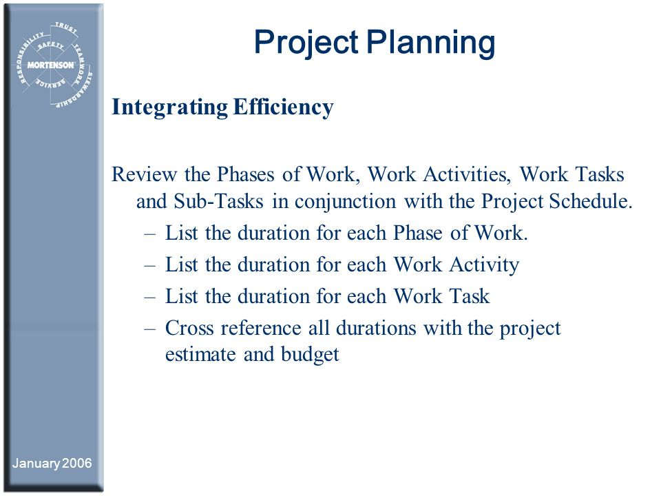 Project Planning Integrating Efficiency