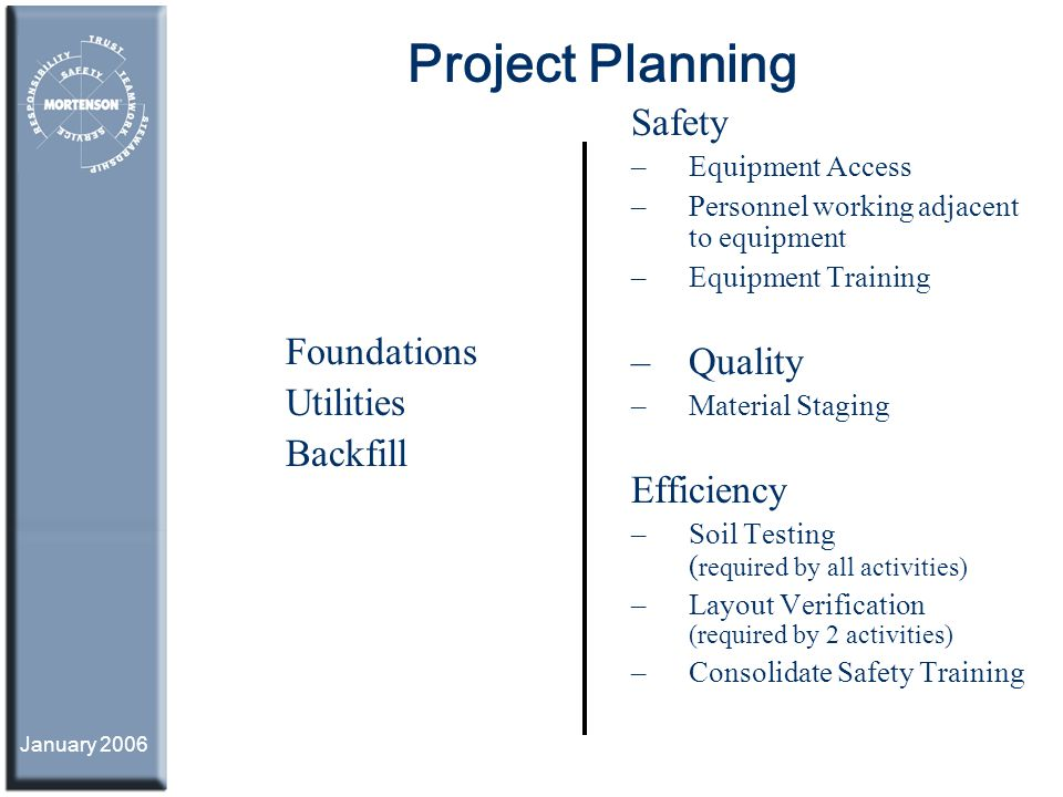 Project Planning Safety Quality Foundations Utilities Backfill