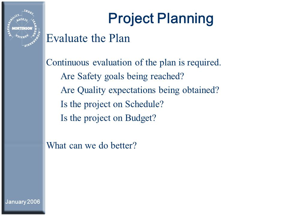 Project Planning Evaluate the Plan