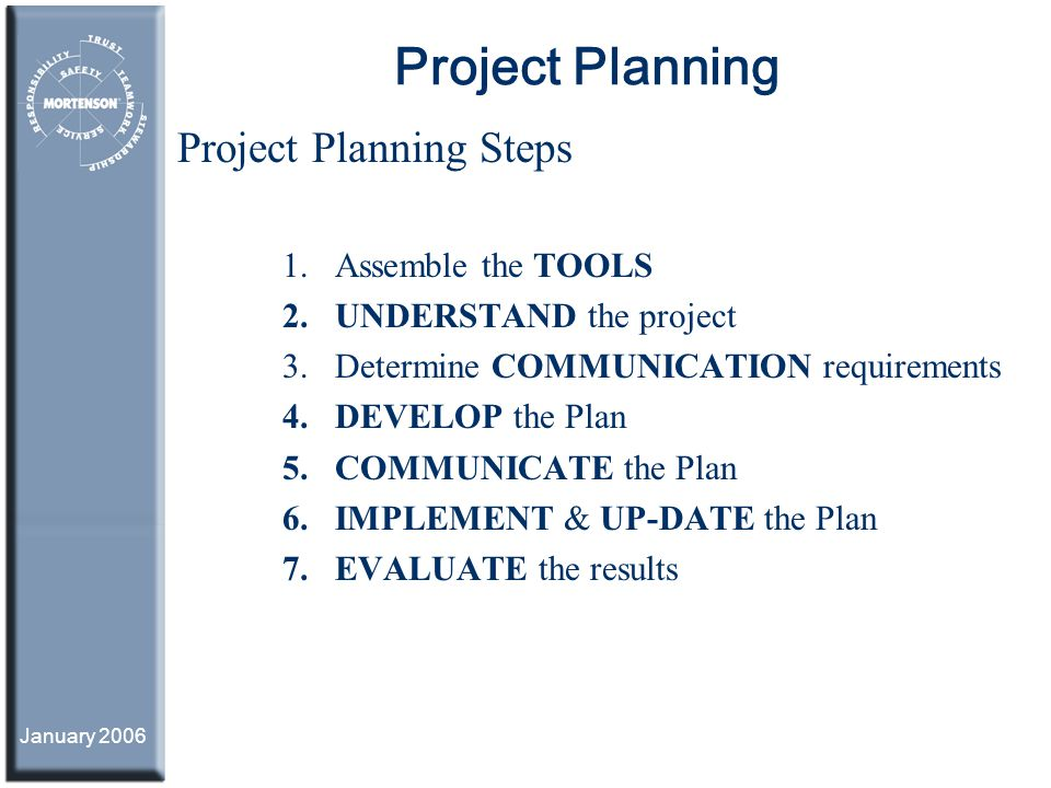 Project Planning Project Planning Steps Assemble the TOOLS