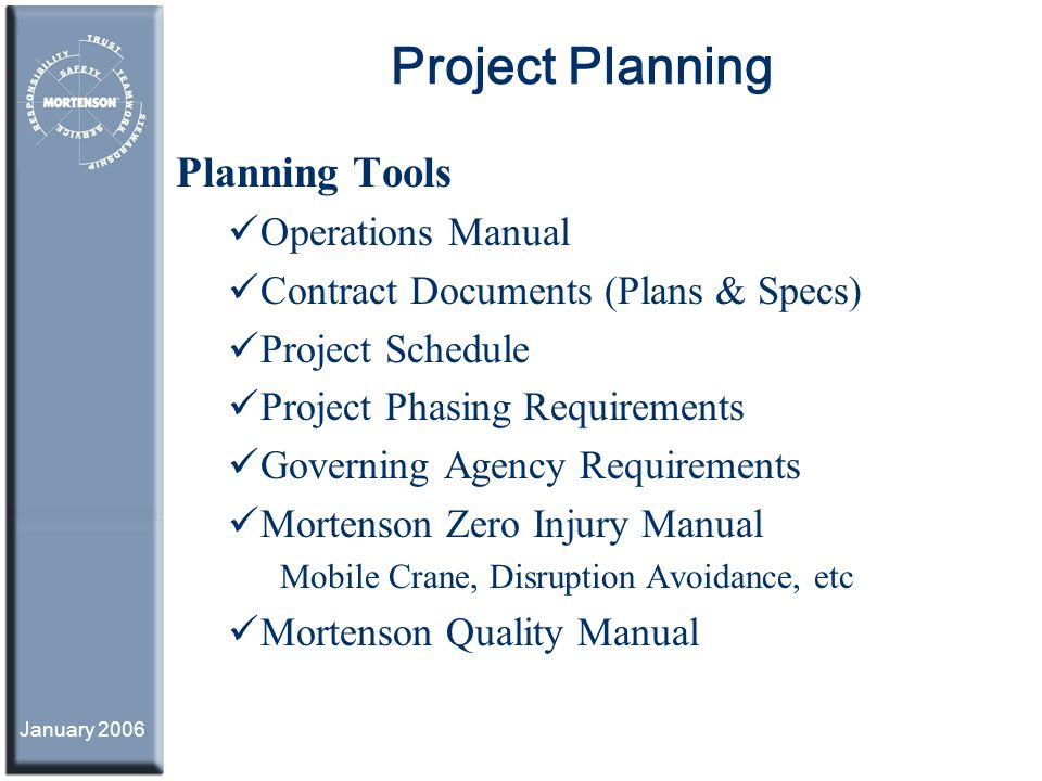 Project Planning Planning Tools Operations Manual