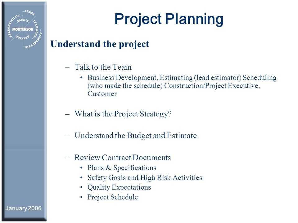 Project Planning Understand the project Talk to the Team