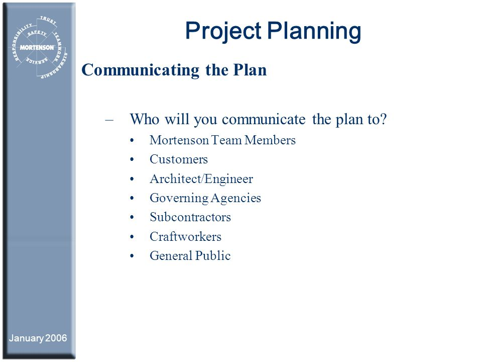 Project Planning Communicating the Plan