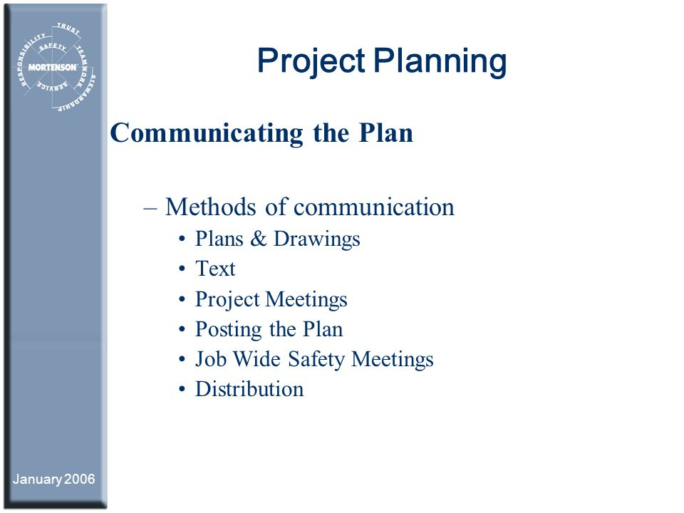 Project Planning Communicating the Plan Methods of communication