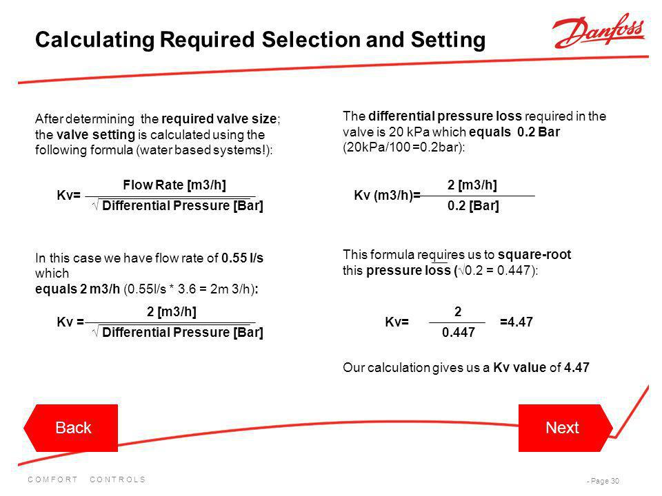 Calculating Required Selection and Setting
