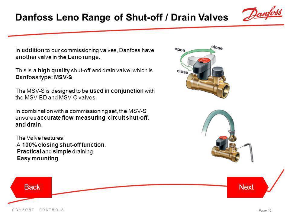 Danfoss Leno Range of Shut-off / Drain Valves