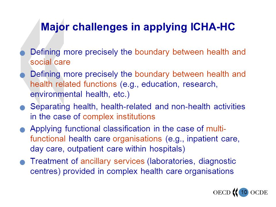 Major challenges in applying ICHA-HC