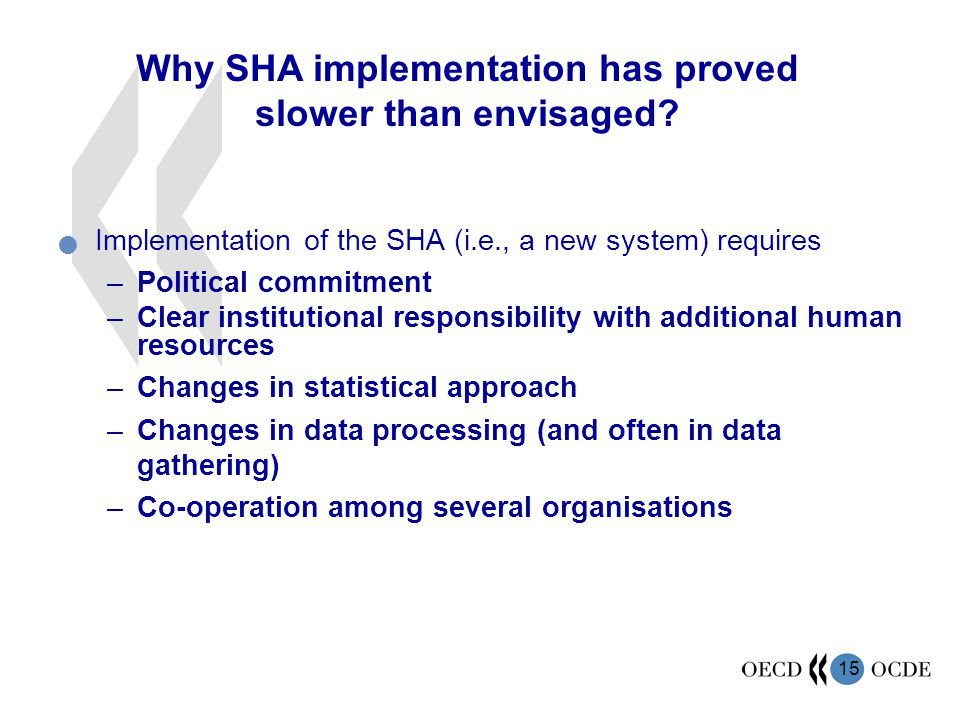 Why SHA implementation has proved slower than envisaged