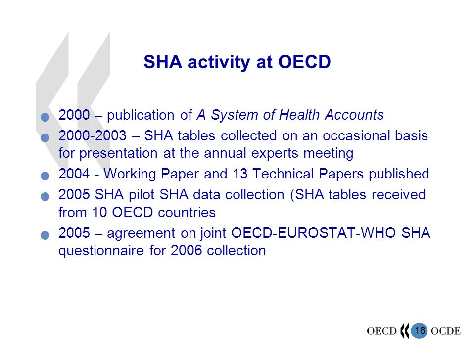 SHA activity at OECD 2000 – publication of A System of Health Accounts