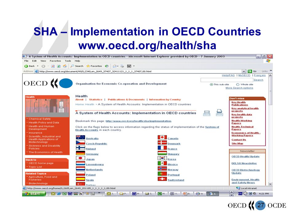 SHA – Implementation in OECD Countries www.oecd.org/health/sha
