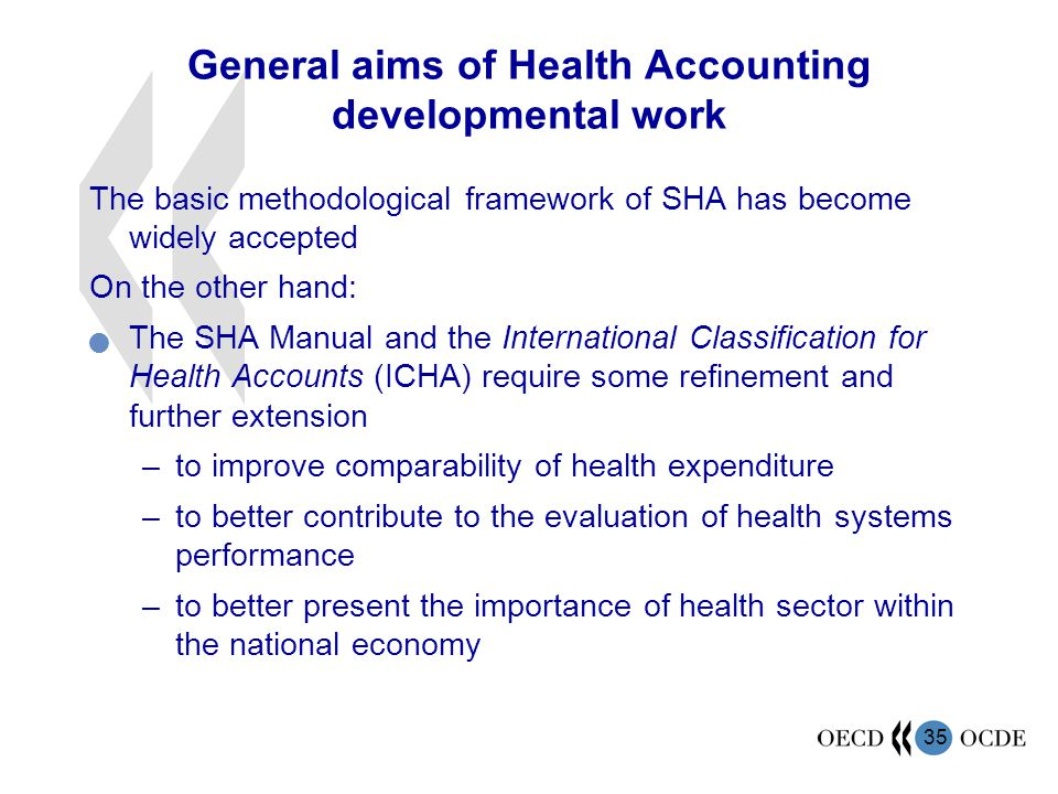 General aims of Health Accounting developmental work