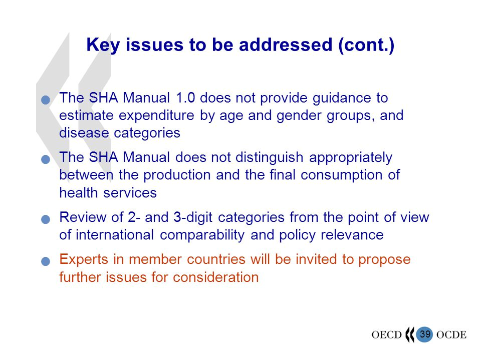 Key issues to be addressed (cont.)