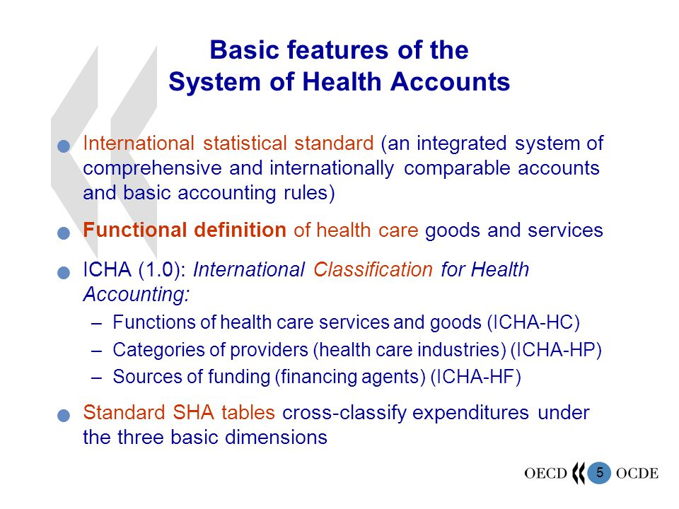 Basic features of the System of Health Accounts