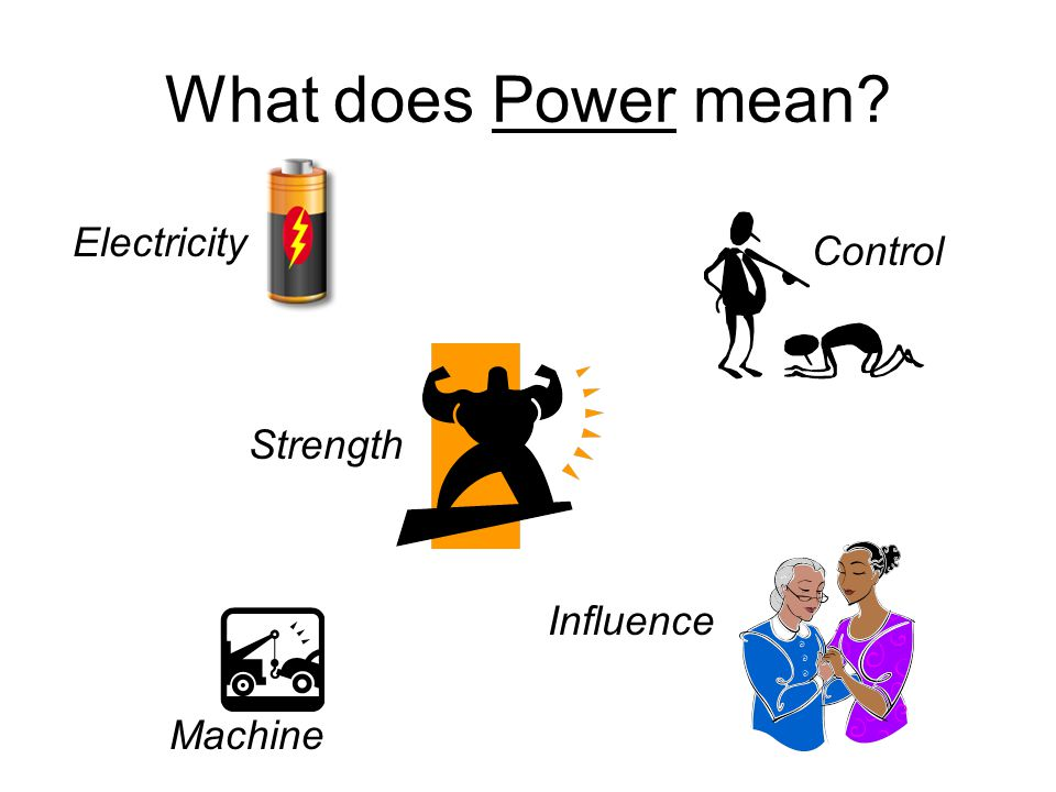 What does Power mean Electricity Control Strength Influence Machine