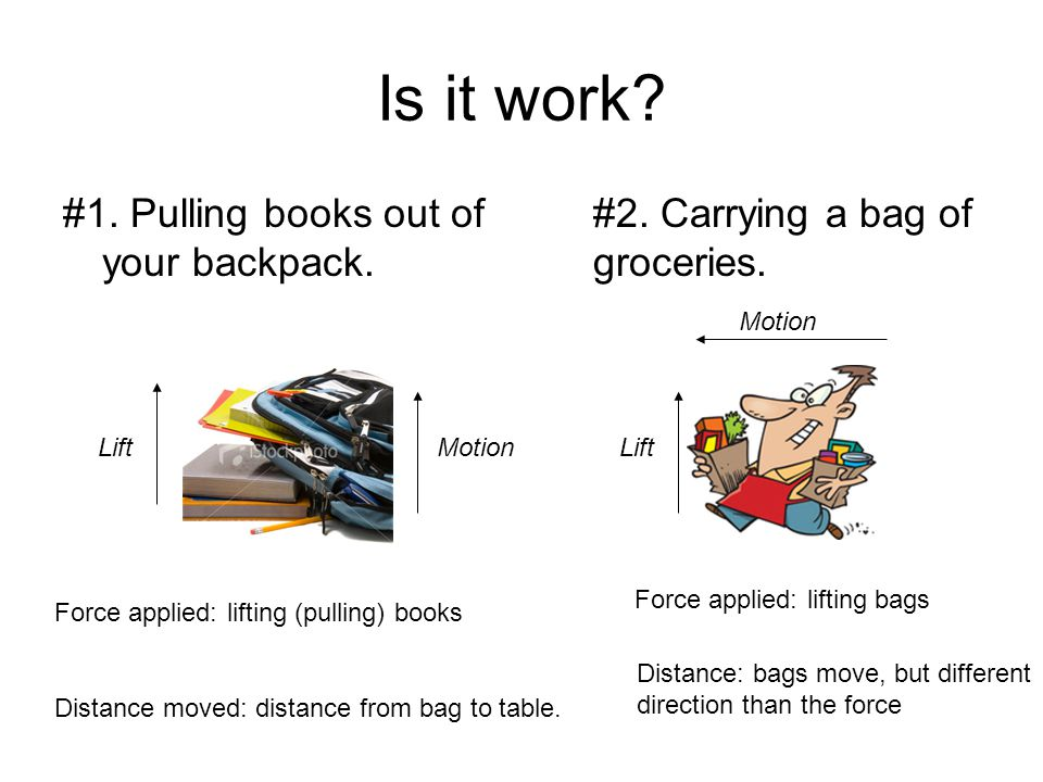 Is it work #1. Pulling books out of your backpack.