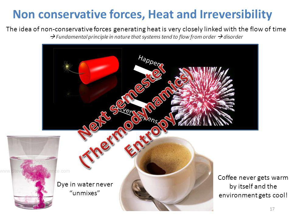 Non conservative forces, Heat and Irreversibility