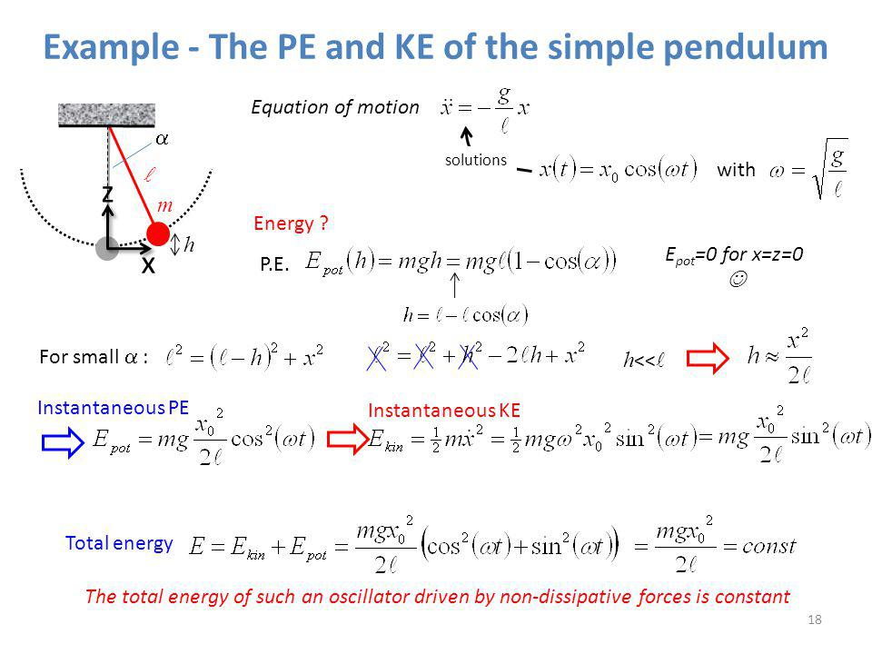 Example - The PE and KE of the simple pendulum