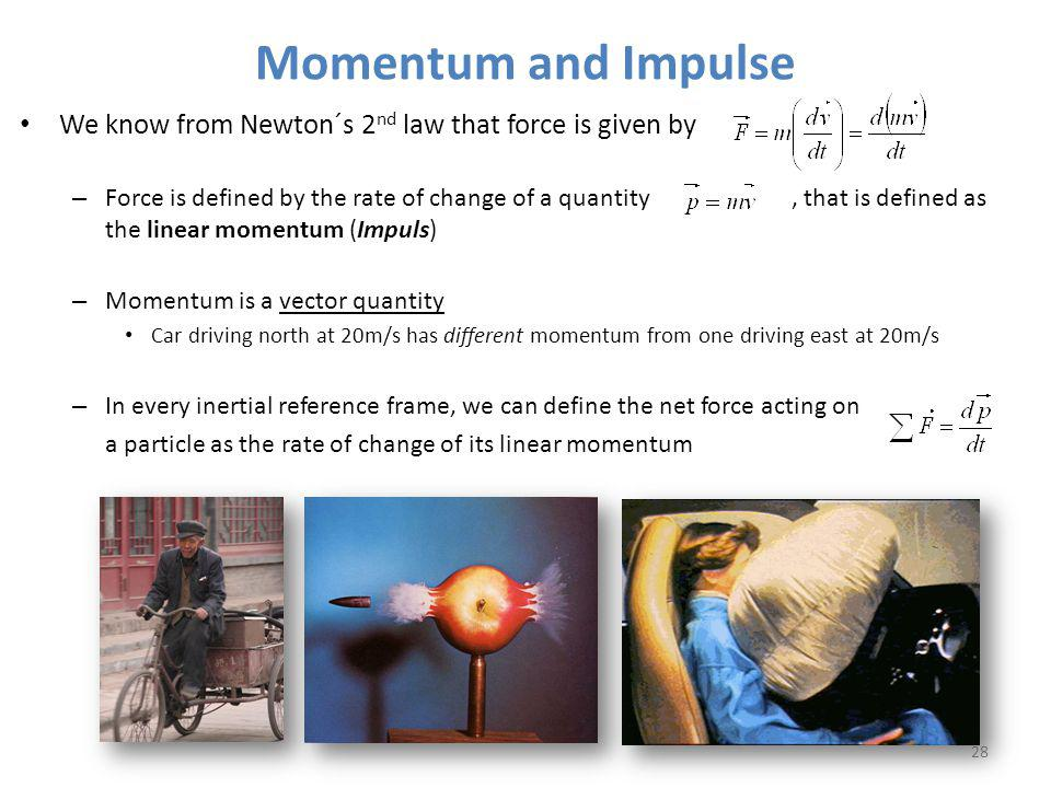 Momentum and Impulse We know from Newton´s 2nd law that force is given by.