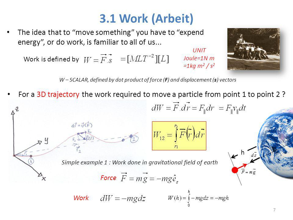 3.1 Work (Arbeit) The idea that to move something you have to expend energy , or do work, is familiar to all of us...