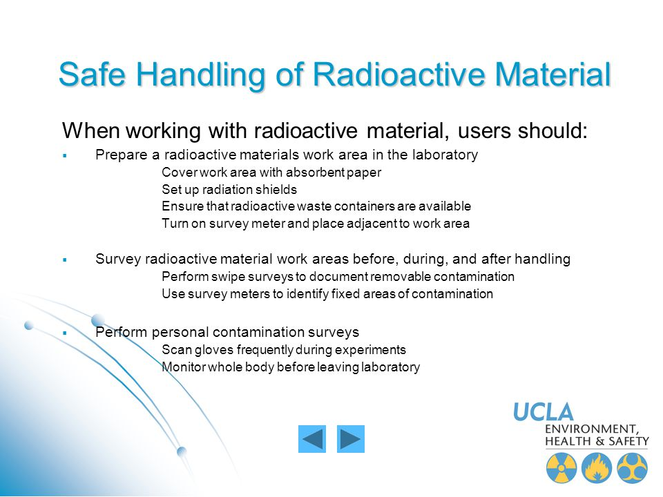 Safe Handling of Radioactive Material