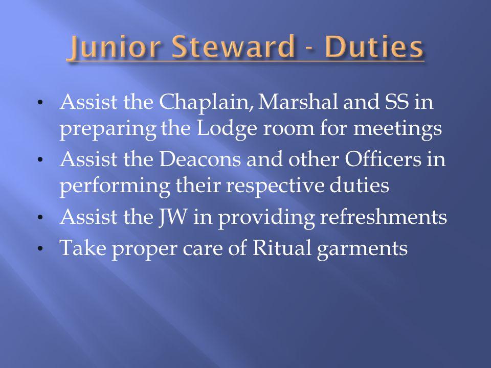 Junior Steward - Duties