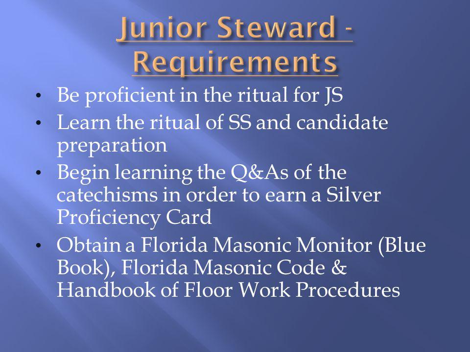 Junior Steward - Requirements