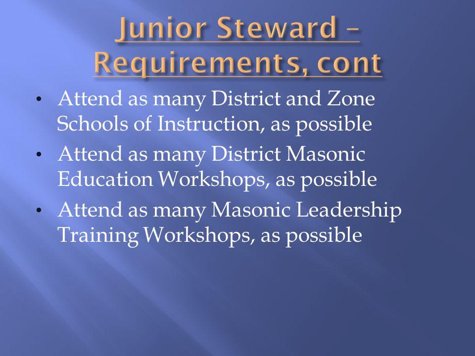 Junior Steward – Requirements, cont