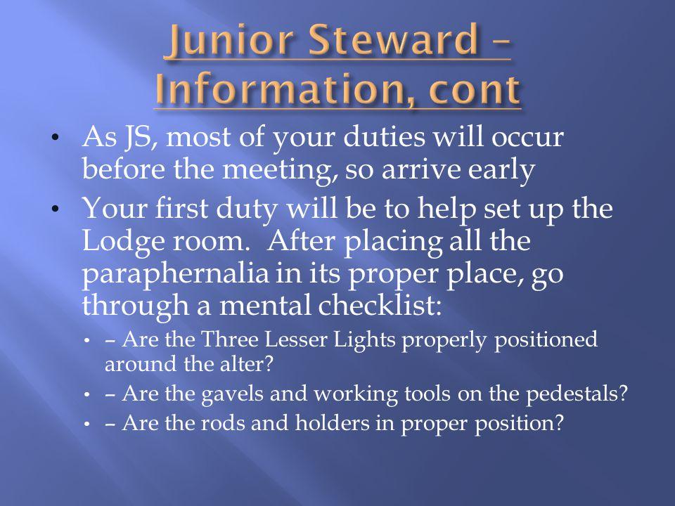 Junior Steward – Information, cont