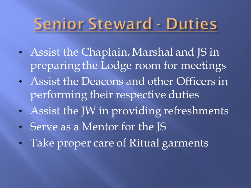 Senior Steward - Duties