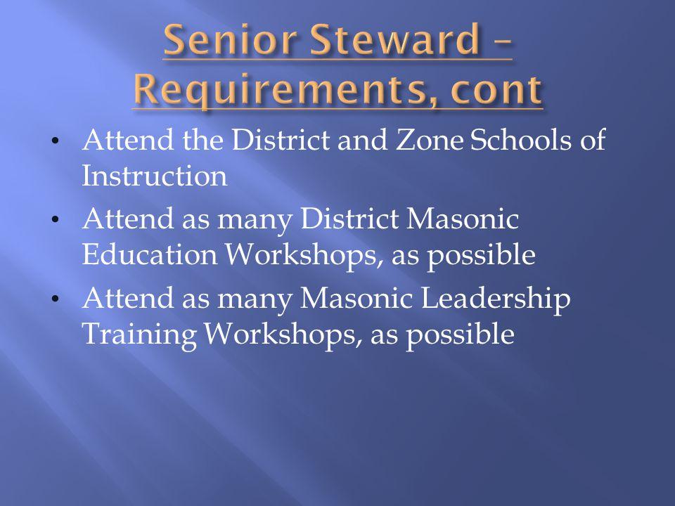 Senior Steward – Requirements, cont