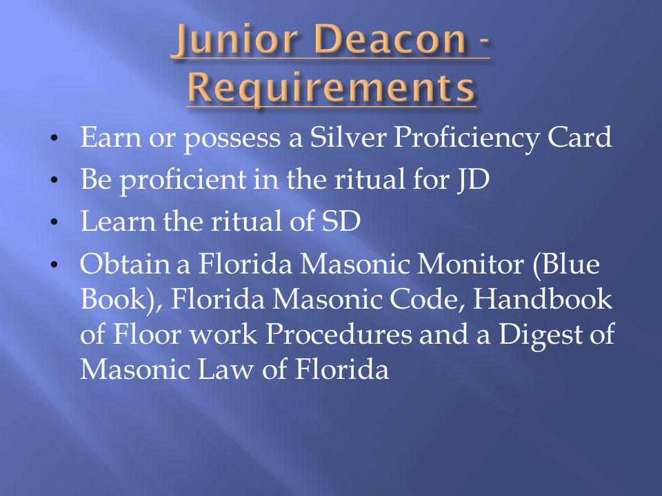 Junior Deacon - Requirements