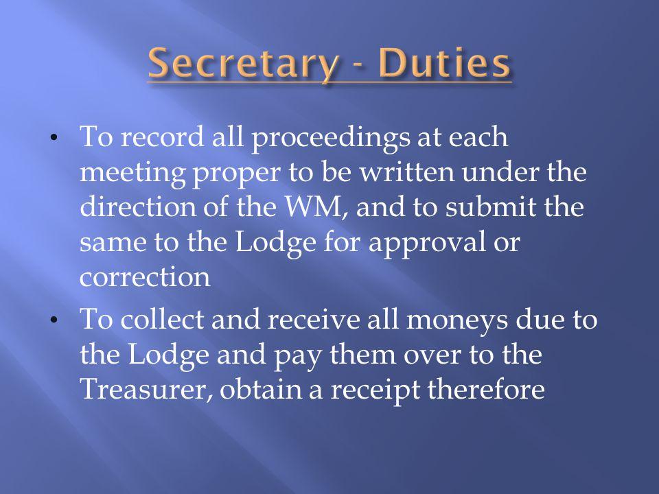 Secretary - Duties