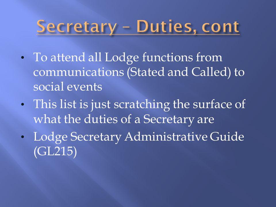 Secretary – Duties, cont