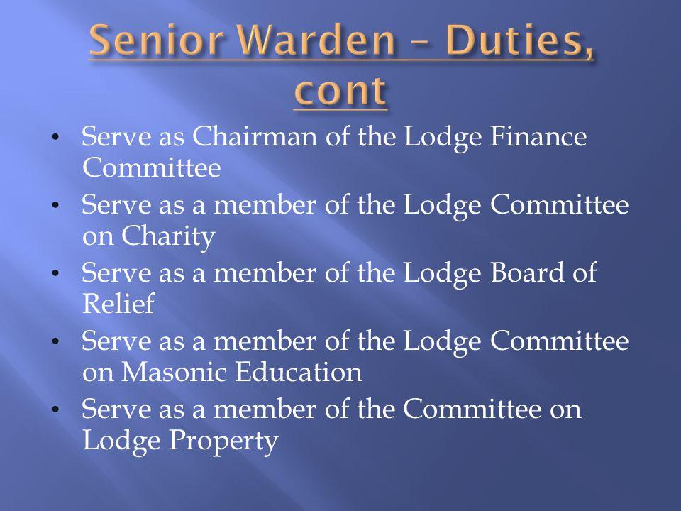 Senior Warden – Duties, cont