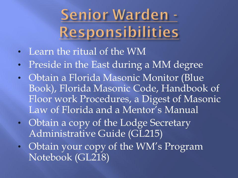 Senior Warden - Responsibilities
