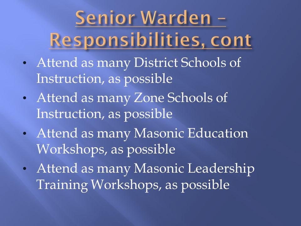 Senior Warden – Responsibilities, cont