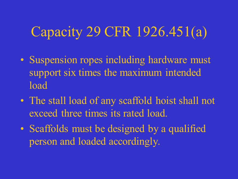 Capacity 29 CFR 1926.451(a) Suspension ropes including hardware must support six times the maximum intended load.