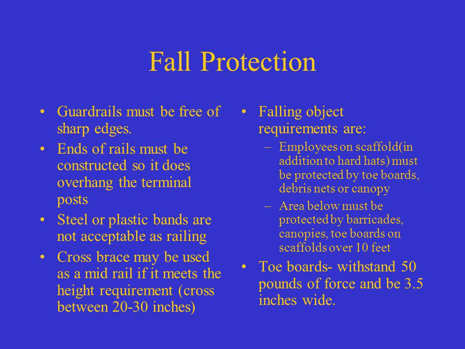 Fall Protection Guardrails must be free of sharp edges.