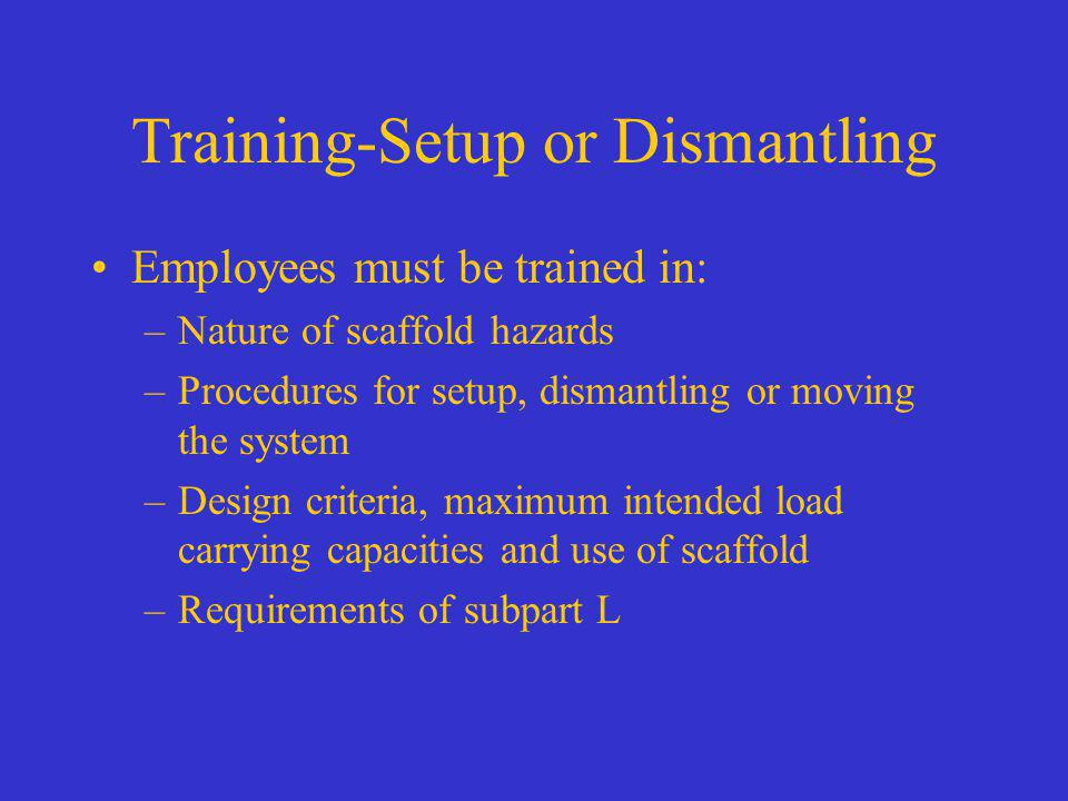 Training-Setup or Dismantling